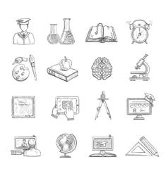 Education Icons Sketch Set vector image vector image
