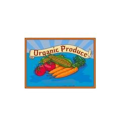 Organic produce crop harvest label watercolor vector