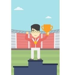 Sportsman celebrating on the winners podium vector