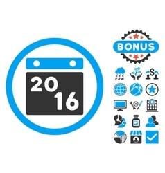 2016 Calendar Flat Icon with Bonus vector image
