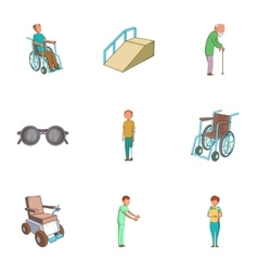 Accessibility icons set cartoon style vector