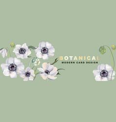 anemones realitic floral header 2020 watercolor vector image