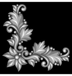 Baroque ornamental antique gold element on black vector