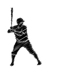 baseball player scribble silhouette artwork vector image