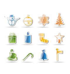 beautiful christmas and winter icons vector image