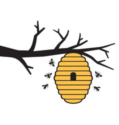 Bees and beehive on tree branch honey design vector
