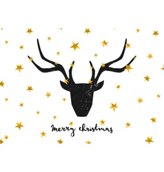 black deer head gold foil stars merry xmas card vector image