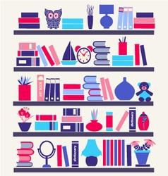 Books on bookshelves vector