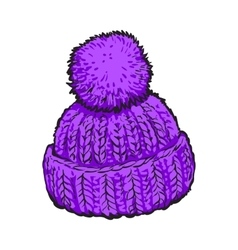 Bright purple winter knitted hat with pompon vector