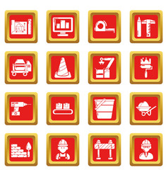 Building process icons set red square vector