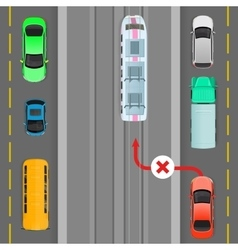 Car Breaks Traffic Rules Overtaking is Forbidden vector