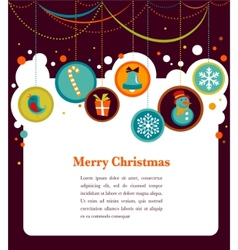 Christmas background with cute icons vector