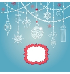 Christmas card with ballgarlandslabelgifts vector image