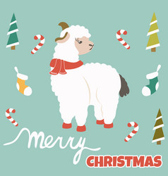 Christmas postcard with holiday lama and elements vector