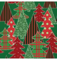 Christmas trees patchwork vector