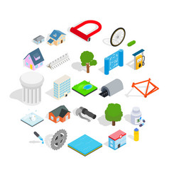 city structure icons set isometric style vector image