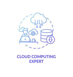cloud computing expert blue gradient concept icon vector image