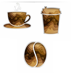 coffee set paper art style vector image