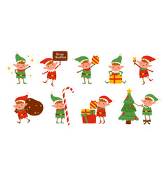 collection christmas elves isolated on white vector image