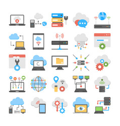 collection of cloud computing and web hosting flat vector image