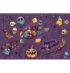 Colored background hand-drawn Halloween doodles vector image