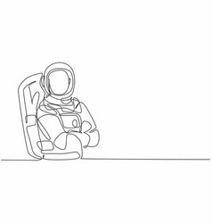 Continuous one line drawing young male astronaut vector