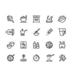 Cooking line icons pan pot kitchen utensils vector