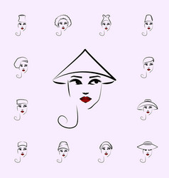 coolie hat girl icon hat girl icons universal set vector image