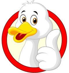 Cute duck thumb up vector image