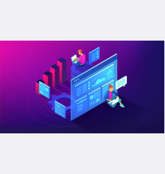 Digital strategy and planing isometric vector