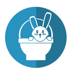 Easter bunny in basket present shadow vector