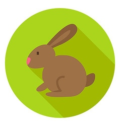 Easter Rabbit Circle Icon with long Shadow vector image