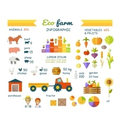 Eco Farm Infographic Elements Flat Design vector image