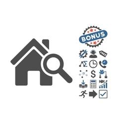 Explore House Flat Icon With Bonus vector