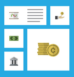 Flat icon incoming set of greenback cash hand vector