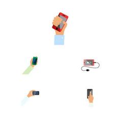 Flat icon touchscreen set keep phone vector