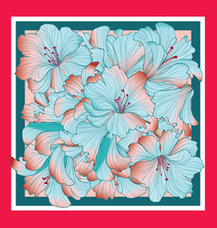 floral pattern decor for silk tiussiue flower vector image
