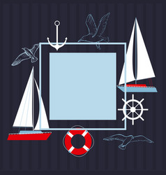 Frame with yachts vector