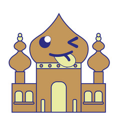 Full color funny taj mahal kawaii cartoon vector