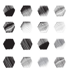geometric hexagon shapes sketch set vector image