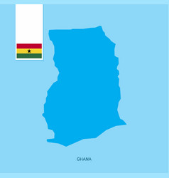 Ghana country map with flag over blue background vector