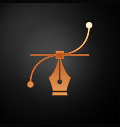 Gold bezier curve icon isolated on black vector