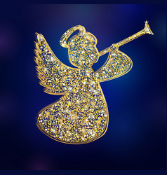 golden christmas angel vector image
