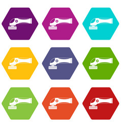 grinder machine icon set color hexahedron vector image