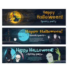 halloween party banner with ghost bat and witch vector image vector image