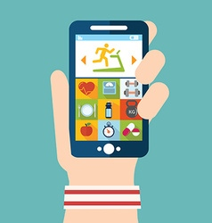 Hand holding a phone with weight lifting vector