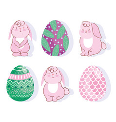happy easter pink bunnies and eggs decoration vector image