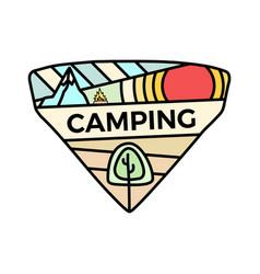 hiking camping logo emblem template adventure vector image