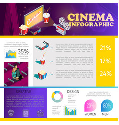 isometric cinematography infographic template vector image