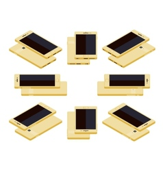 Isometric generic gold smartphone vector